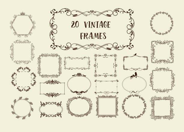 illustrations, cliparts, dessins animés et icônes de ensemble d'éléments vintage vector - charpente