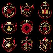 Set of vector vintage emblems created with decorative elements