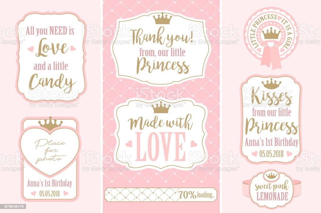 Set of vector vintage frames. Templates gift tags for royal party( wedding, baby and bridal shower, birthday) vector art illustration