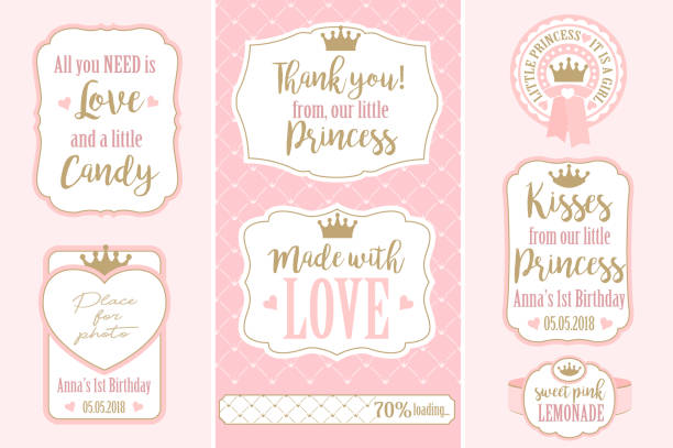 Set of vector vintage frames. Templates gift tags for royal party( wedding, baby and bridal shower, birthday) Candy wrappers, stickers, labels for little princess sweet table. Golden crown and pink candy patterns stock illustrations