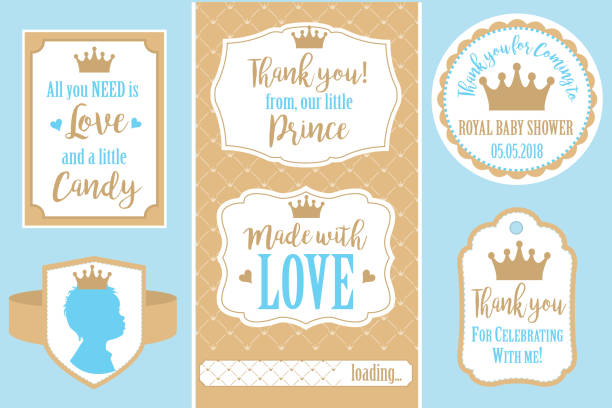 satz von vektor-vintage-rahmen. vorlagen geschenk-tags für royal party (geburtstag, hochzeit, babyparty) - prince stock-grafiken, -clipart, -cartoons und -symbole