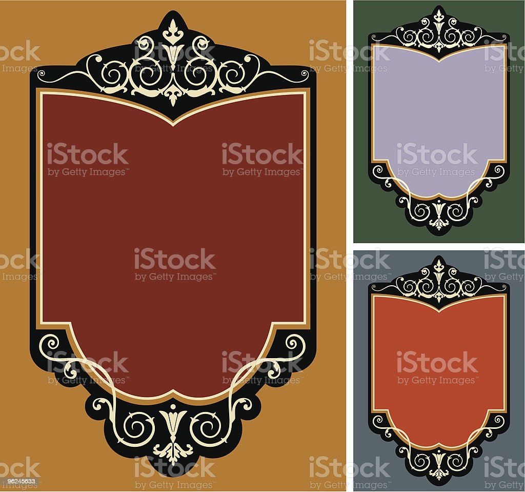 Set of vector vintage frames vector art illustration