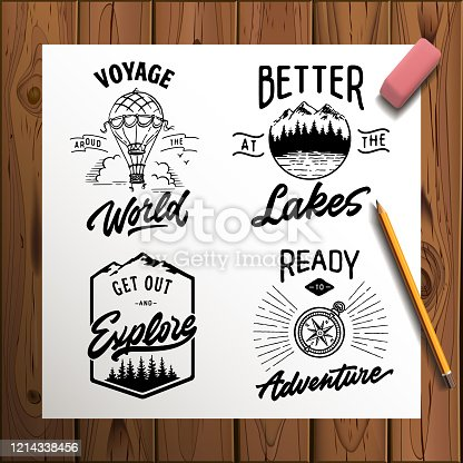 istock Set of vector vintage hand drawn logotype with lettering elements on wood planks 1214338456