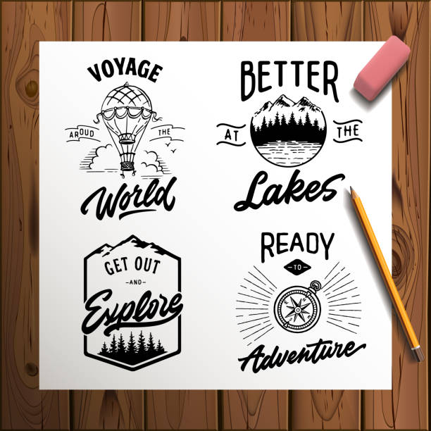 Set of vector vintage hand drawn logotype with lettering elements on wood planks Set of vector vintage hand drawn logotype with lettering elements on wood planks lakes stock illustrations