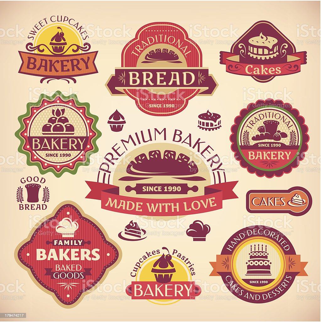 Set of vector vintage various bakery labels royalty-free stock vector art