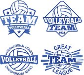 Set of vector volleyball badges, logo templates etc.