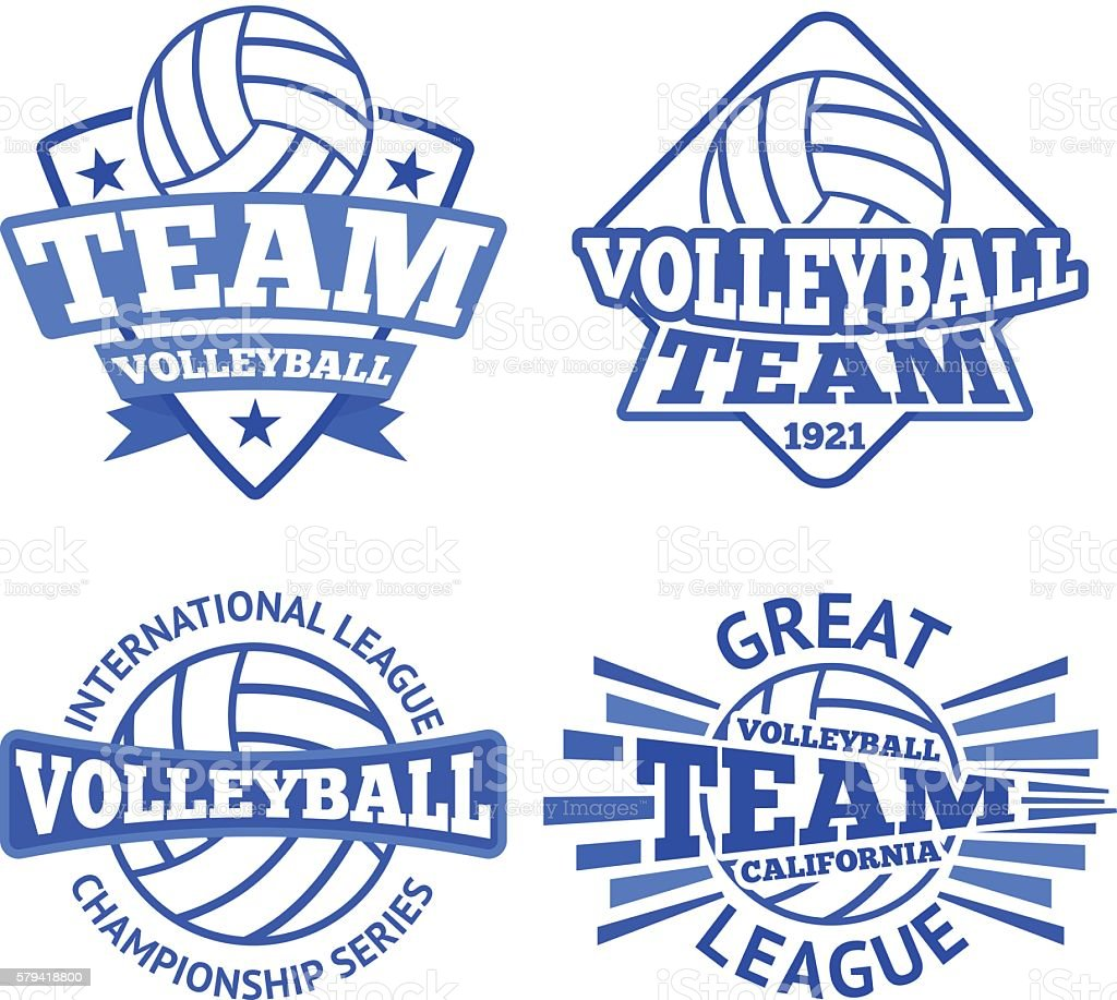 Set of vector volleyball badges, logo templates etc. vector art illustration
