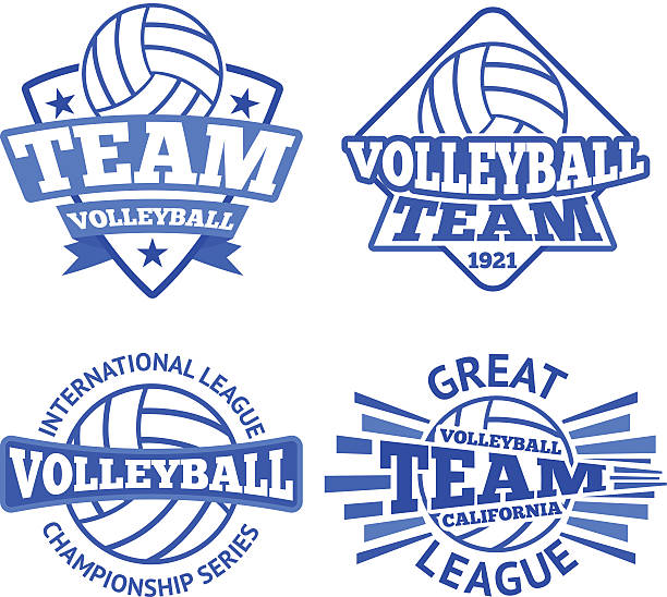 Set of vector volleyball badges, logo templates etc. - Illustration vectorielle