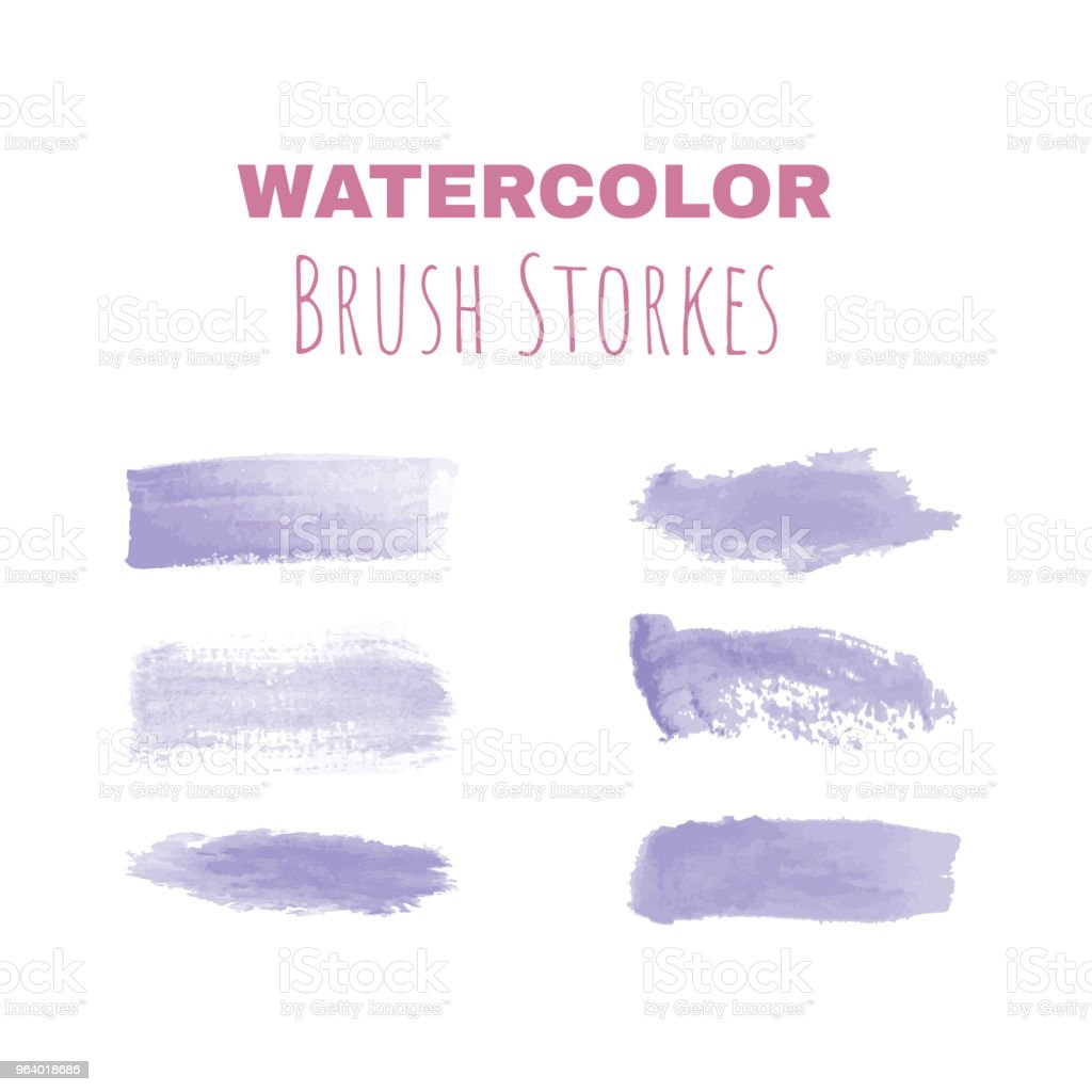 ベクター水彩ブラシ ストロークのセット - しみのロイヤリティフリーベクトルアート