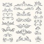 Set of vector watercolor decorative elements in faded grey color