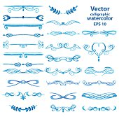 Set of vector watercolor calligraphic frames for your design
