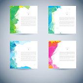 Set of vector watercolor template