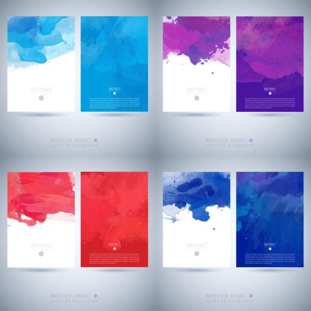 satz von vektor-aquarell-vorlage - wasserfarben hintergründe stock-grafiken, -clipart, -cartoons und -symbole