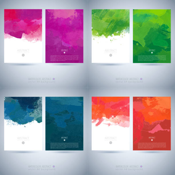 set of vector watercolor template - school backgrounds stock illustrations, clip art, cartoons, & icons