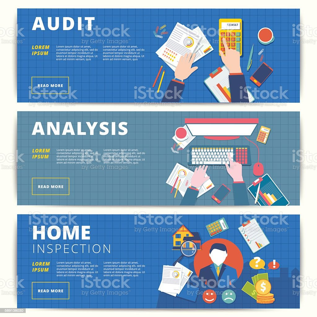 Set of vector web banners design for business or finance vector art illustration