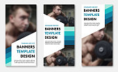 Set of vector web banners with color elements and white shapes for text.