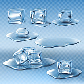 Set of vector wet melting ice cubes and water puddles