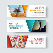 Set of vector white banners with triangular elements for a photo. Horizontal web templates with orange, blue and red objects.