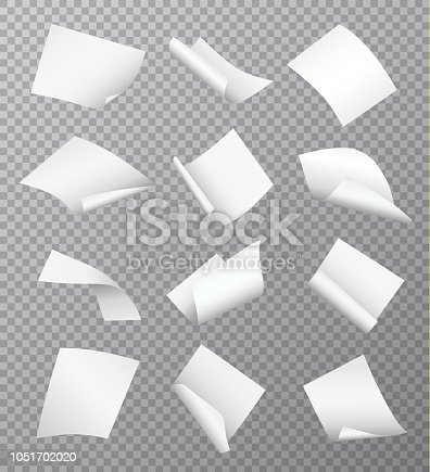 Set of vector white empty papers flying or falling in different positions with curled and twisted edges isolated on transparent background
