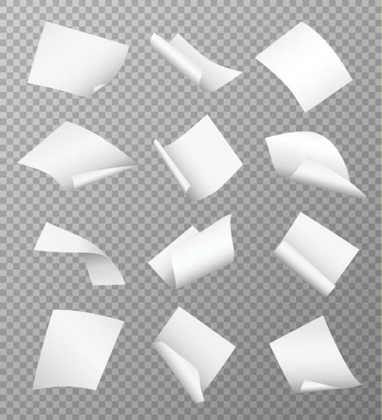 set of vector white empty papers flying or falling in different positions with curled and twisted edges isolated on transparent background - zwinięty aranżacja stock illustrations