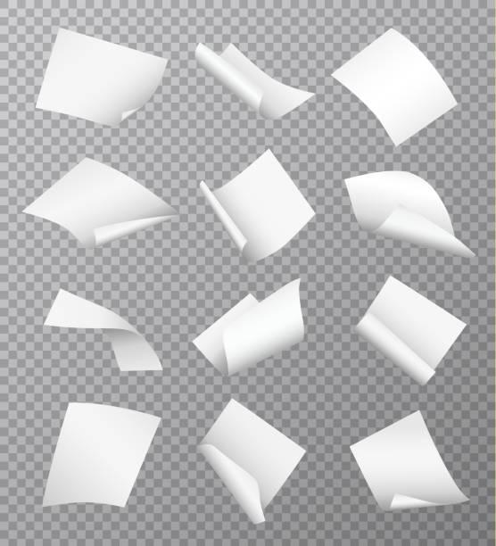 stockillustraties, clipart, cartoons en iconen met verzameling van vector witte lege papieren vliegen of vallen in verschillende posities met gekruld en gedraaid randen geïsoleerd op transparante achtergrond - vliegen