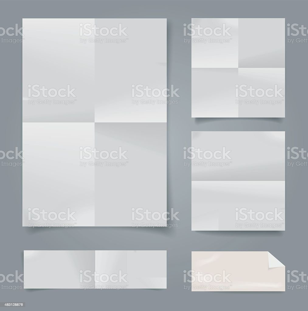 Set of vector white folded papers. vector art illustration
