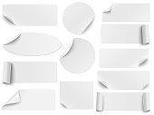 istock Set of vector white paper stickers of different shapes with curled corners isolated on white background. Round, oval, square, rectangular shapes. 1219763481