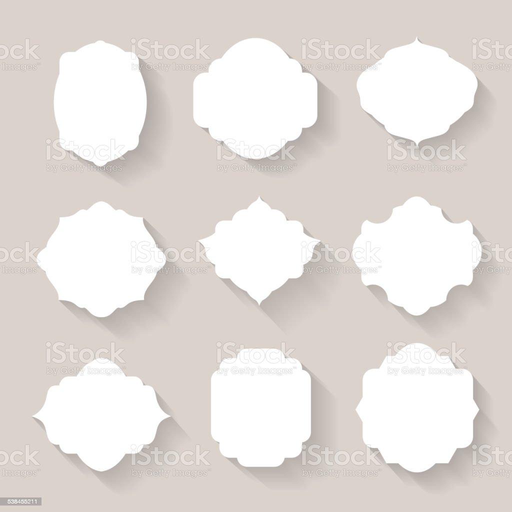 Set of vector white silhouette frames  or cartouches for badges vector art illustration