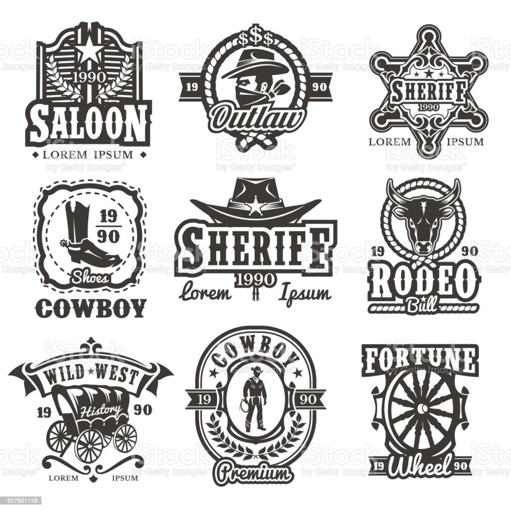 Set of vector wild west logos vector art illustration