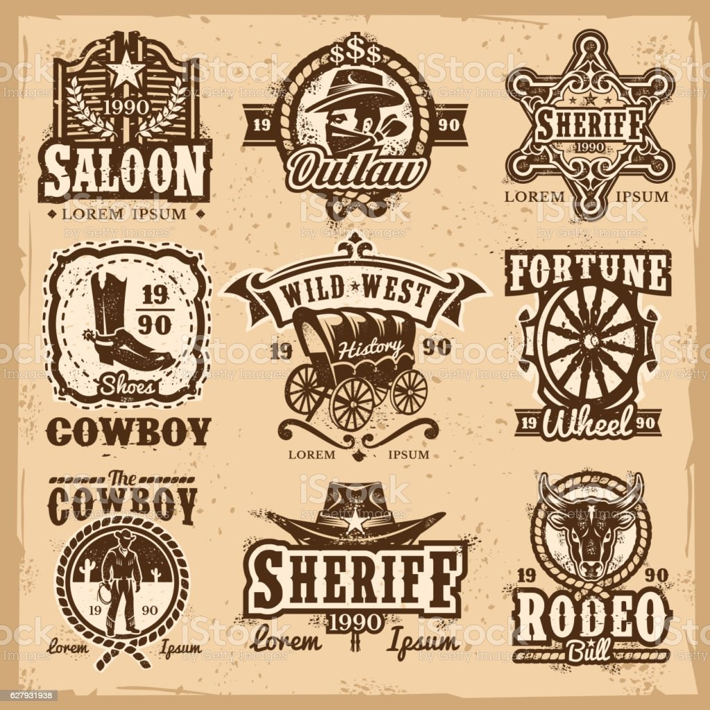 Set of vector wild west logos vector art illustration