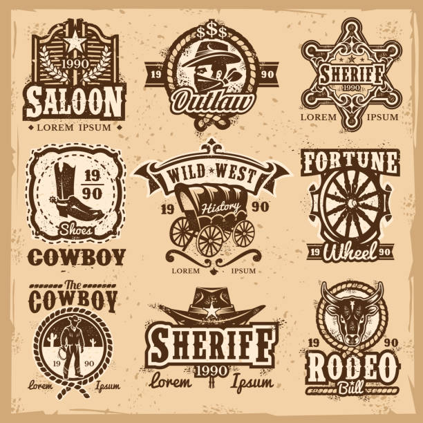 set of vector wild west logos - cowboyhüte stock-grafiken, -clipart, -cartoons und -symbole