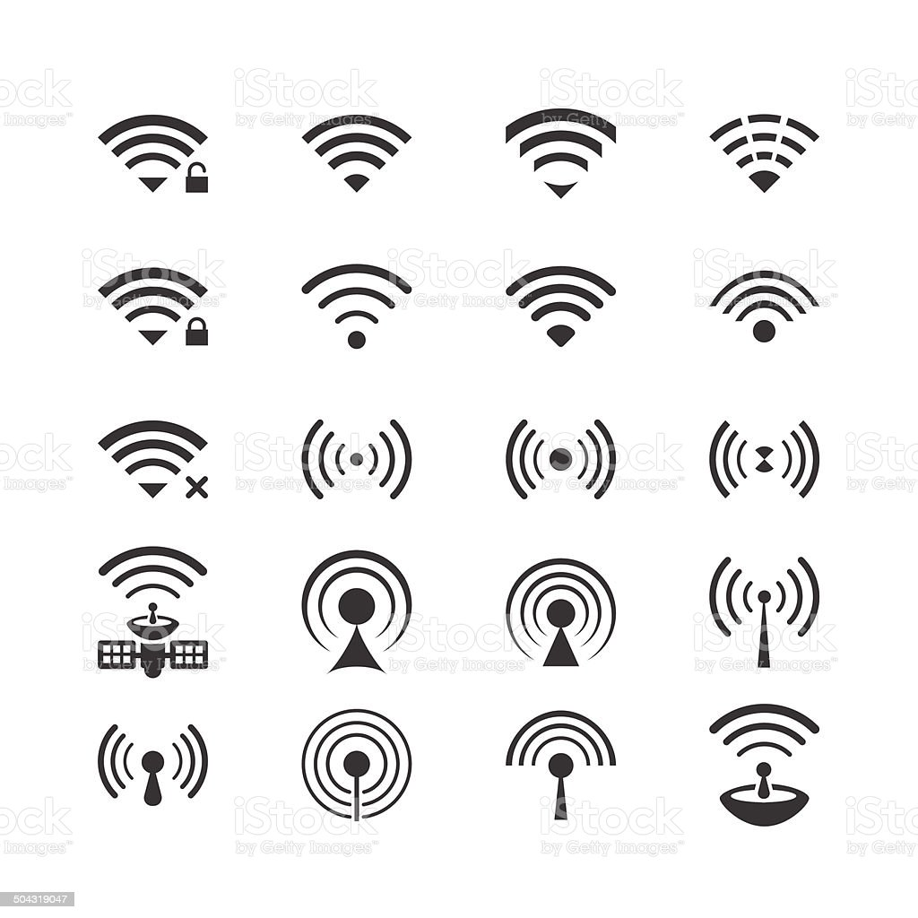 Set of vector wireless icons for remote control and communication vector art illustration