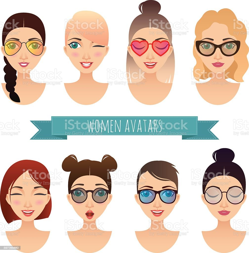 Set of vector women avatars Lizenzfreies set of vector women avatars stock vektor art und mehr bilder von avatar