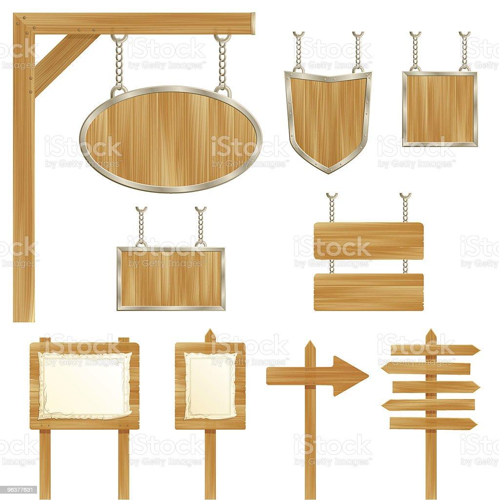 Set of vector wooden sign posts vector art illustration