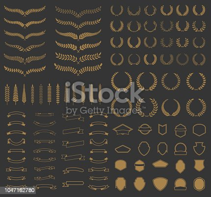 Set of vector wreaths and branches. Design elements for  label, emblem, badge, sign. Vector illustration.