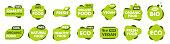 Set of Vegan, Eco, Bio, Organic, Fresh, Healthy, 100 percent, natural food. Natural product Collection of 60 emblem cafe badges tags packaging Vector illustration