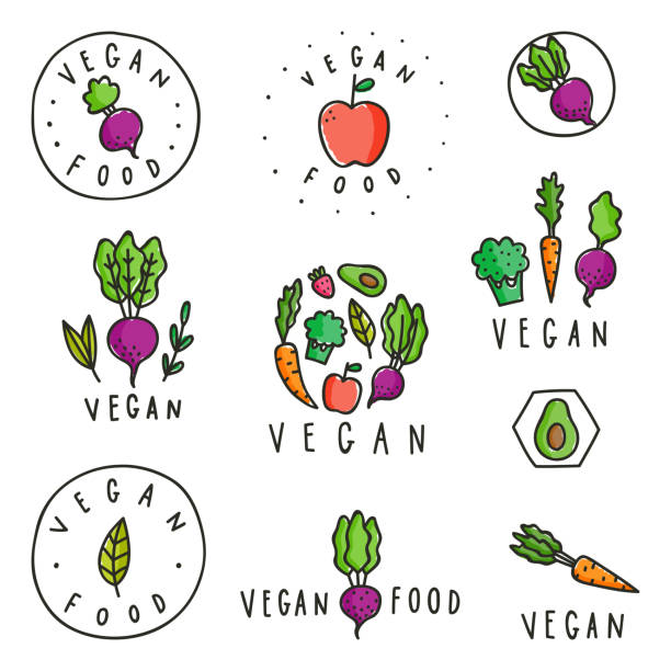 Set of vegan food badges. Set of vegan food badges. Different vegetables. Vector hand drawn signs fruit drawings stock illustrations