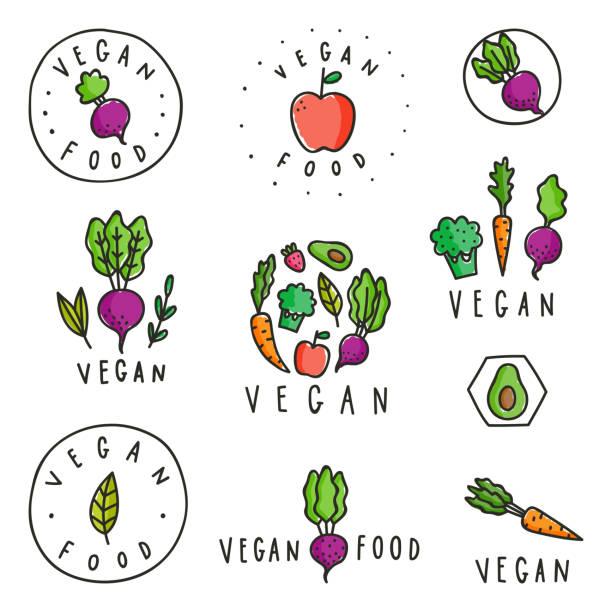 ilustraciones, imágenes clip art, dibujos animados e iconos de stock de juego de insignias de comida vegana. - vegetal