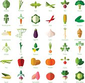 Set of vegetable flat icons