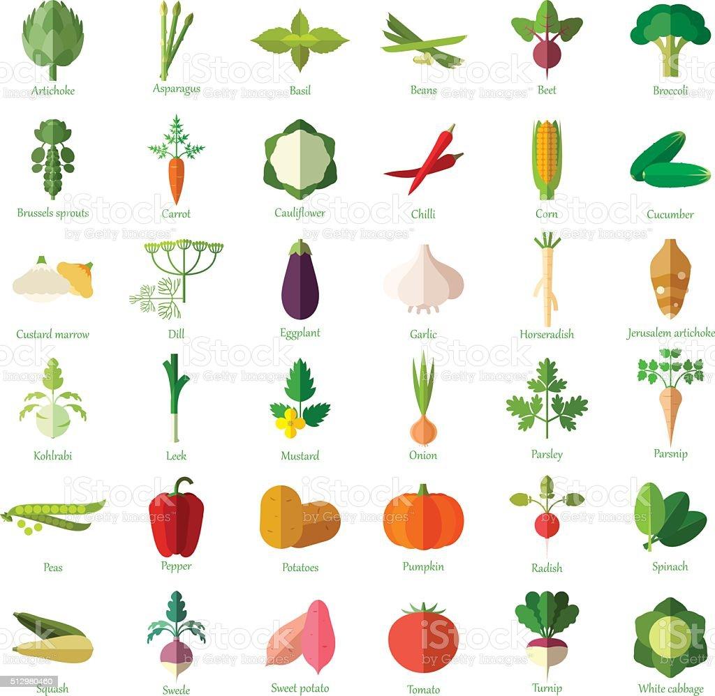 Conjunto de ícones plana de legumes - ilustração de arte em vetor