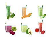 A set of vegetable smoothie. Vector illustration