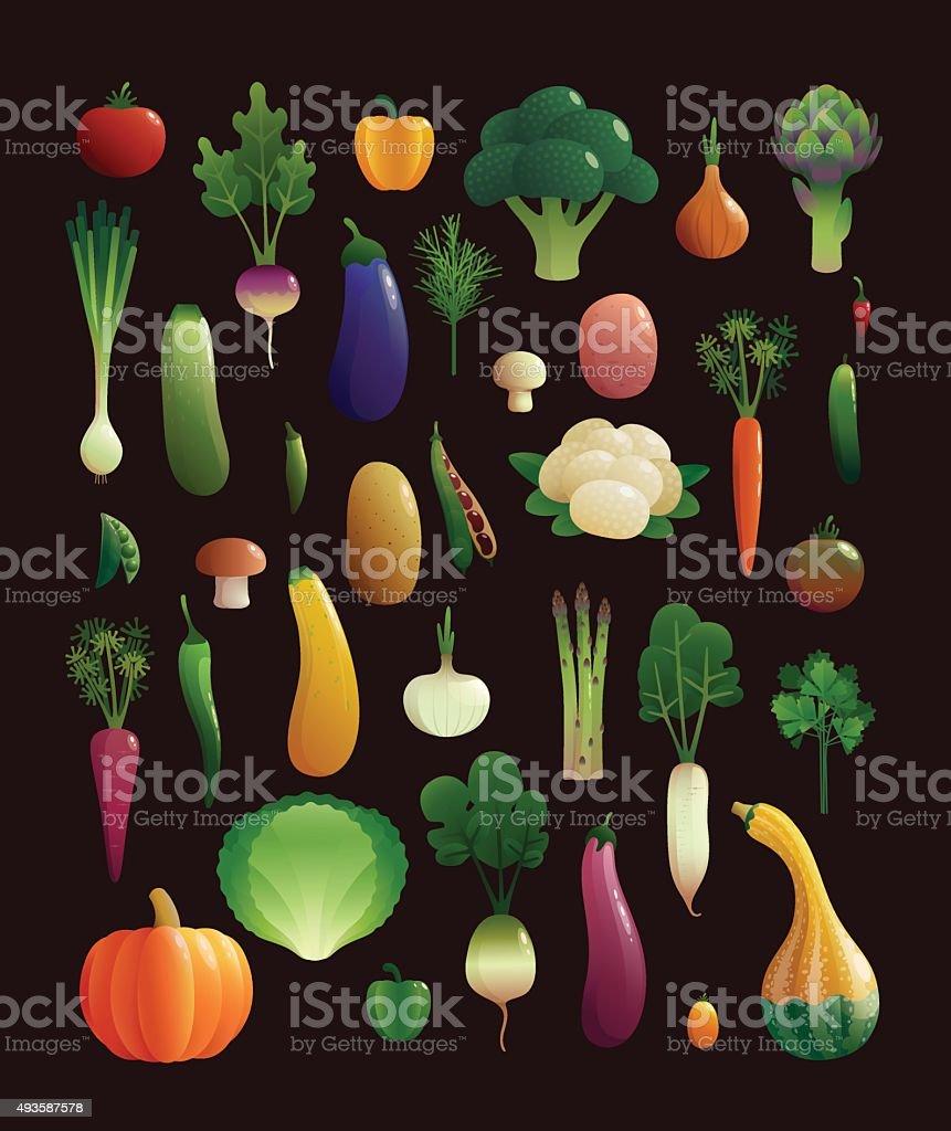 Set of vegetable. Vector illustration. vector art illustration