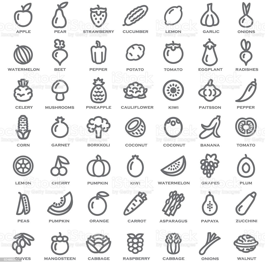 set of vegetables and fruits outline royalty free stock vector art