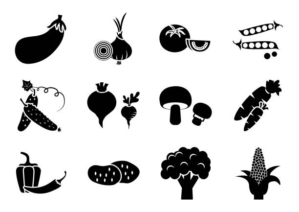 ilustrações de stock, clip art, desenhos animados e ícones de set of vegetables, black and white silhouette, vector illustration - red bell pepper isolated