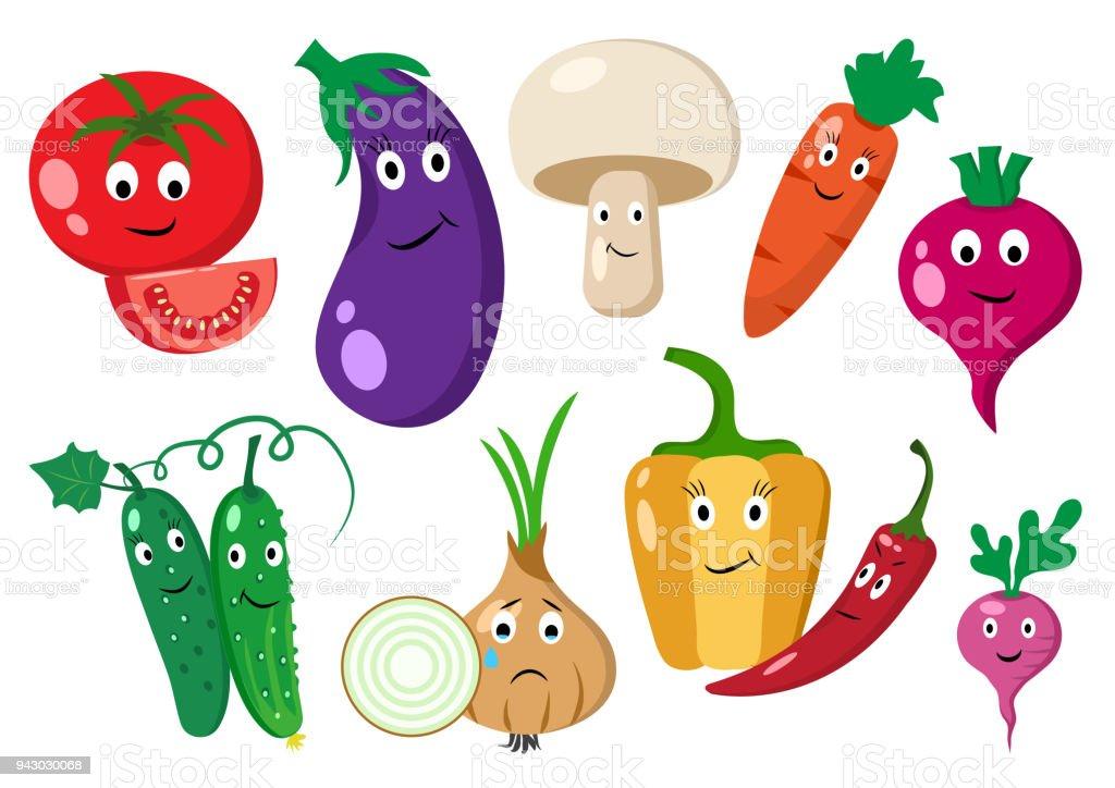Ilustración De Conjunto De Verduras Dibujos Animados De