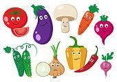 Set of vegetables. Cartoon vegetables with emotions. Colorful vector illustration