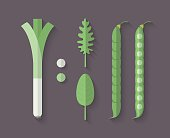Set of Vegetables in a Flat Style - Leeks
