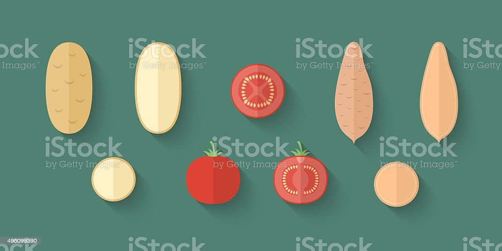 Set of Vegetables in a Flat Style - Potato vector art illustration