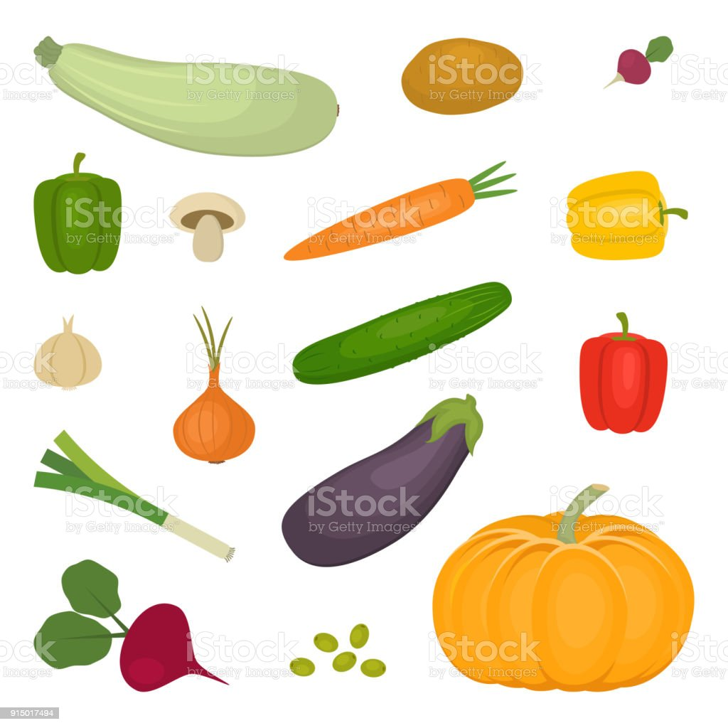 Set of vegetables, isolated on a white background vector art illustration