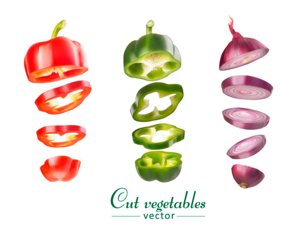 Set of vegetables of bell pepper and onions. Vegetables are cut Set of vegetables of bell pepper and onions. Vegetables are cut spanish onion stock illustrations